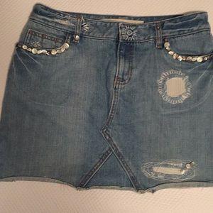 GAP Jeans Mini Skirt Embellished Boho Hippie Sz 6